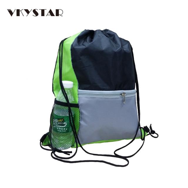 Whole Green Side Mesh Front Zipper Pocket Drawstring Bag Lightweight Travel Backpack Mens String For