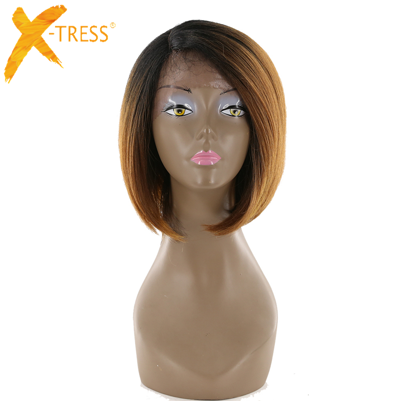 Court Bob Perruques Ombre Noir Brun Droite Dentelle Frontale Synthétique Perruques Avec Bébé Cheveux Pour Femmes Noires Côté Partie X-TRESS perruque