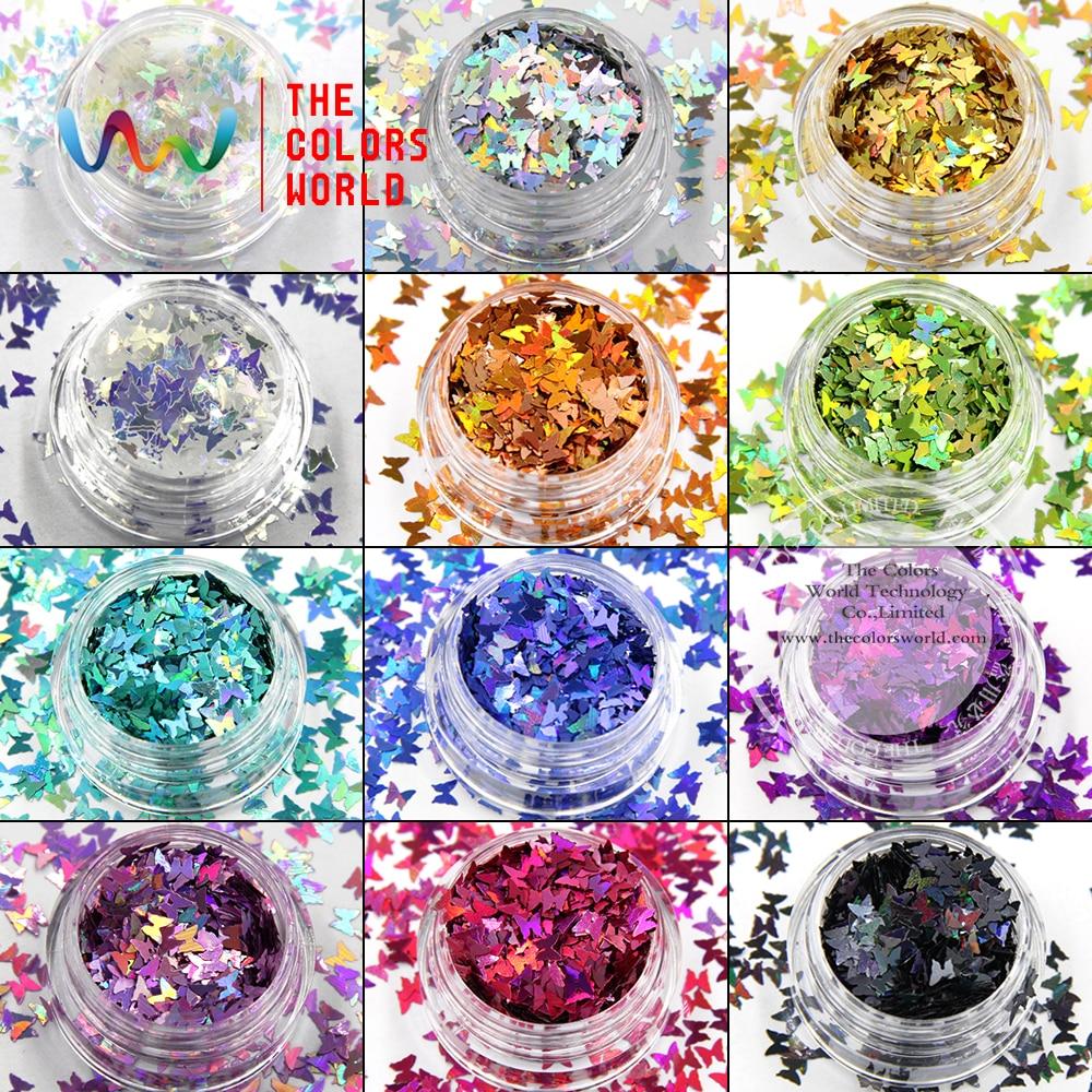TCT-017レーザーカラー(ホログラフィック)蝶の形とネイルアート、ネイルジェル、化粧品、DIY装飾用の12種類の色のきらめき