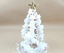 Купить с кэшбэком 2019 17x10cm DIY White Visual Magic Paper Growing Crystal Tree Magical Grow Christmas Trees Kids Arbre Magique Science Baby Toys