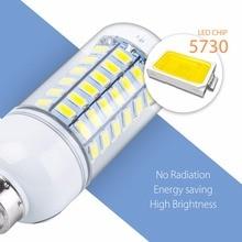 SMD 5730 LED Corn Lamp E27 bombillas led 5W 7W 12W 15W 18W 20W E14 220V LED Light 3W High Power Household Interior Bulb 200-240V zdm qe2785148w16l e27 16w 1500lm 6500k 34 smd 5730 led white light bulb silver white 200 240v