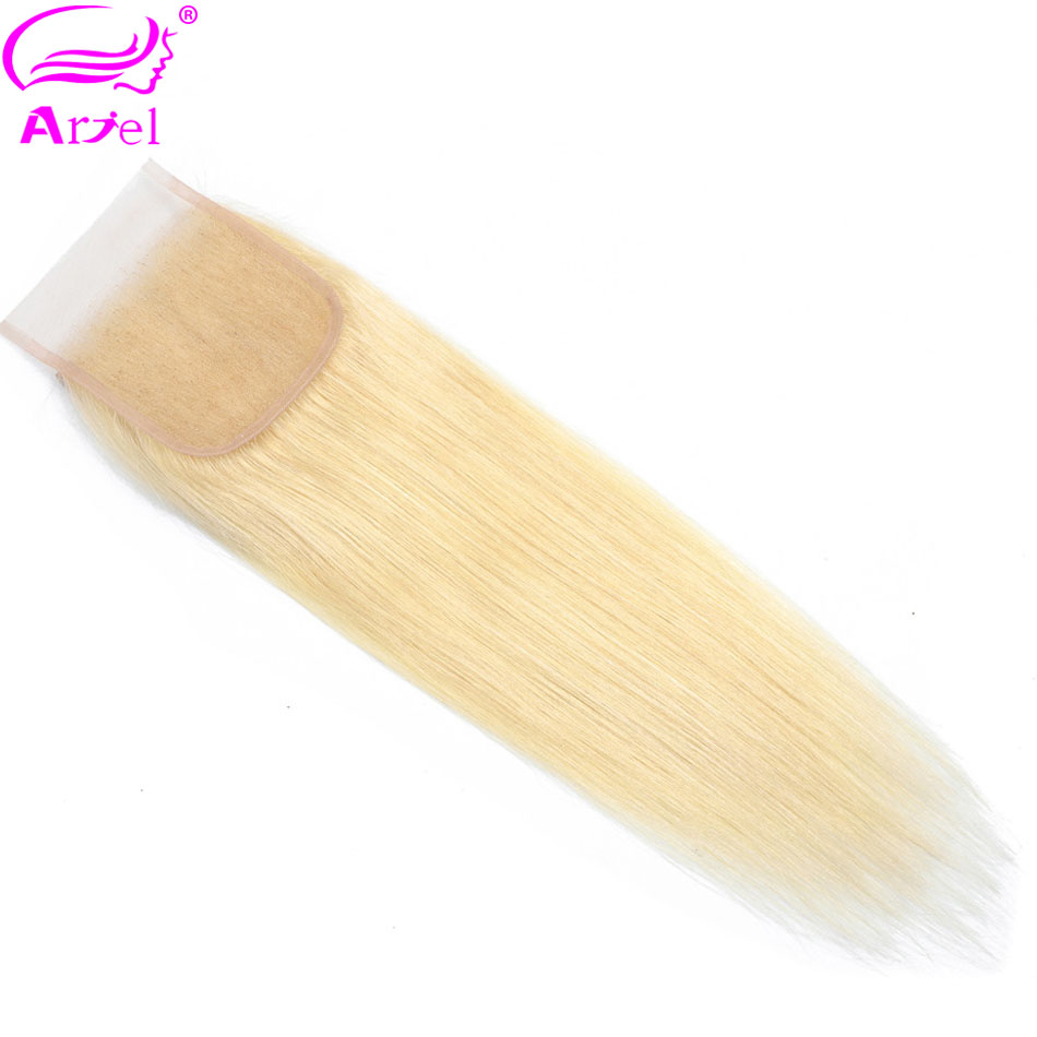 ARIEL 100%Human-Hair Closure Blonde Lace Straight 22-Inch Swiss Remy Free/middle/three-part