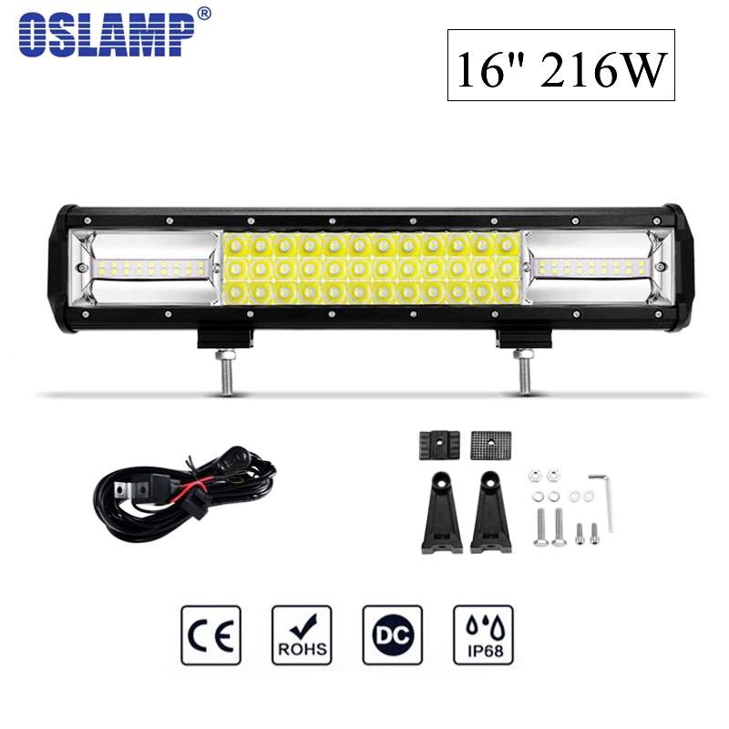 Oslamp 16 216W 6000K CREE Chips Combo Beam LED Work Light Bar Offroad Driving Lamp for Jeep Truck SUV ATV 4x4 4WD 12v 24v oslamp 52 500w led offroad light bar cree chips combo beam led work light for jeep truck atv suv pickup 4wd 4x4 led bar 12v 24v