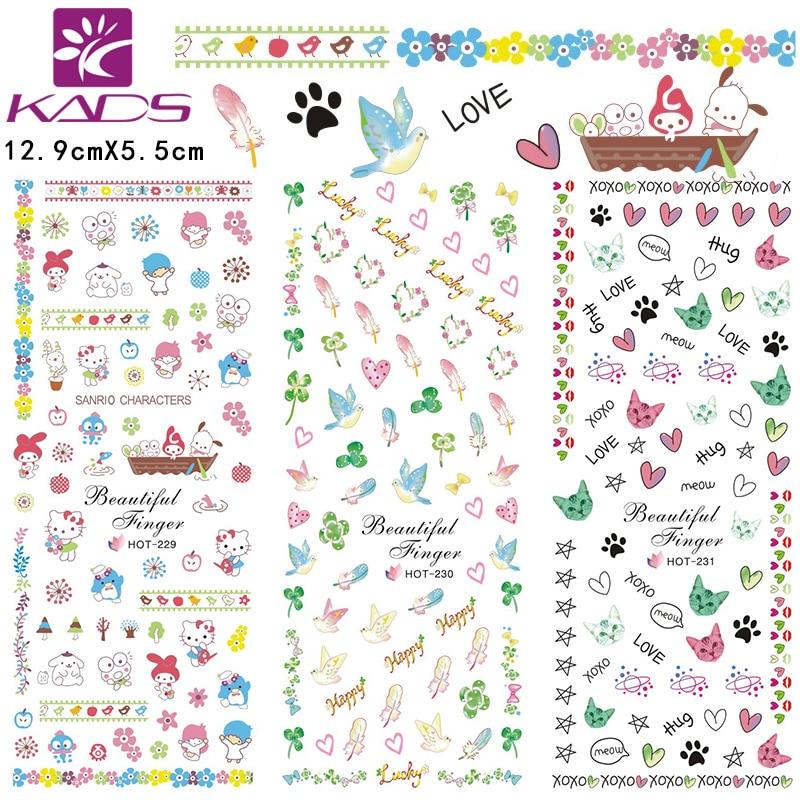 っ3sheet/set HOT229-231 beauty feather design Water decal Nail ...