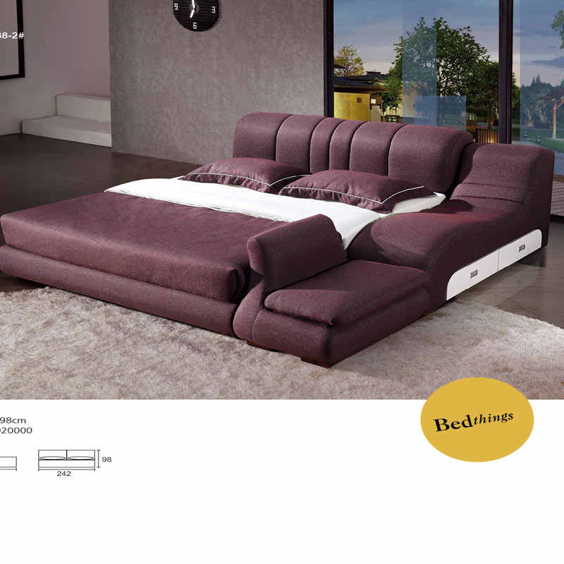Purple fabric King and queen sofa beds model sexy bedroom furniture