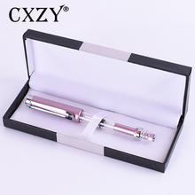 CXZY High piston transparent Fountain pen Classic pink 0.5 0.38 Iraurita nib calligraphy ink rose Gold Clip luxury Office 1G806