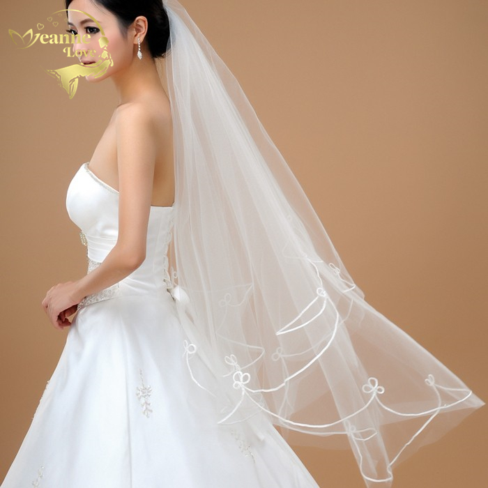 140cm Wholesale  Cheap Simple Tulle Wedding Veils Ribbon Edge Bridal Accesories White Ivory Wedding Veils ACCESSORIES OV32000