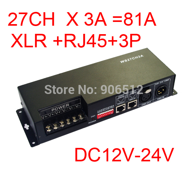 Free Shipping 27CH dmx512 decoder, LED drive,9 group RGB each channel max 3A,DC12-24V output,for LED strip light, module dhl free shipping 18ch dmx512 controller rgb dmx512 decoder each channel max 3a have rj45 for led strip light led rgb module