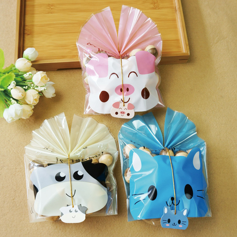 Us 1 63 18 Off 5 Pcs Lot Cartoon Animals Pig Cat Cow Candy Bag Wedding Party Favor Gift Bo Ribbon Casamento Event Decorations In Bags