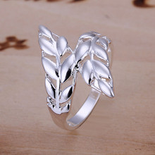 925 sterling silver jewelry factory price silver wedding engagement party ring 2015 new hollow out two feathers ring size8 CR119(China)