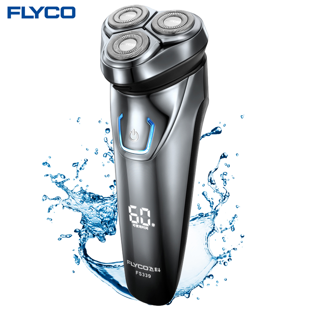 Flyco FS339 Rasage Machine Électrique Rasoir Pour Hommes Rasoir Électrique Barbeador IPX7 Étanche 1 Heure Rechargeable Lavable Rotary