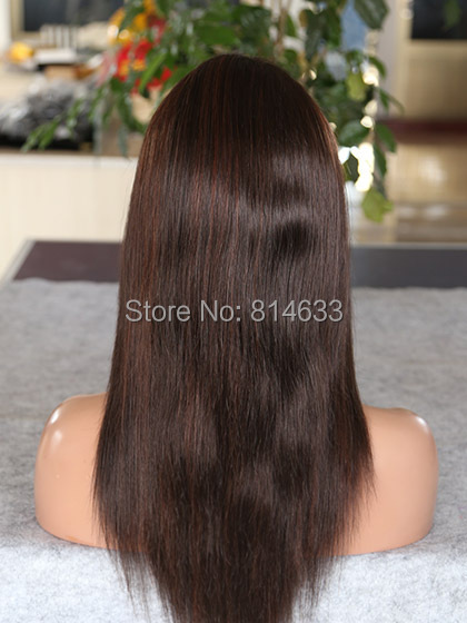 Worthy Lace Front Straight Human Hair Wigs 2 Dark Brown With Auburn