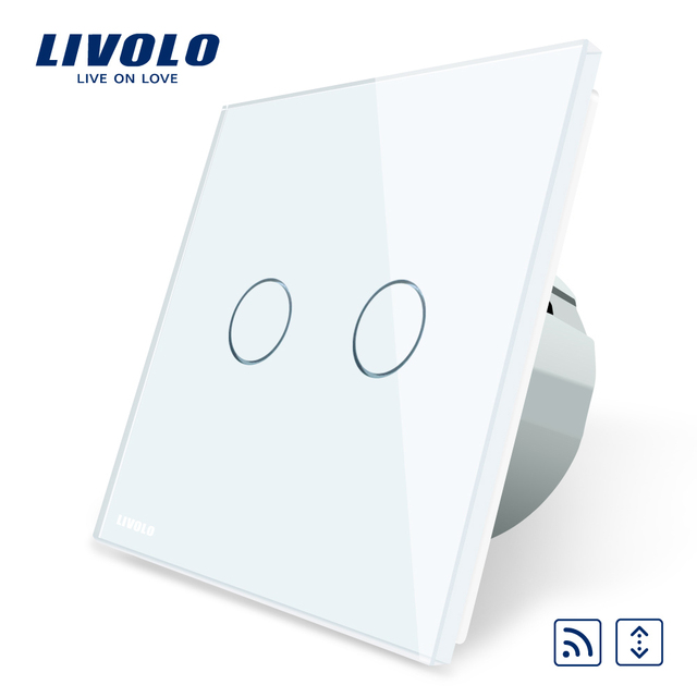 Livolo EU Standard Touch led remote curtains Switch, AC 220~250V,White Crystal Glass Panel, C702WR-1/2/3/5,No remote controller
