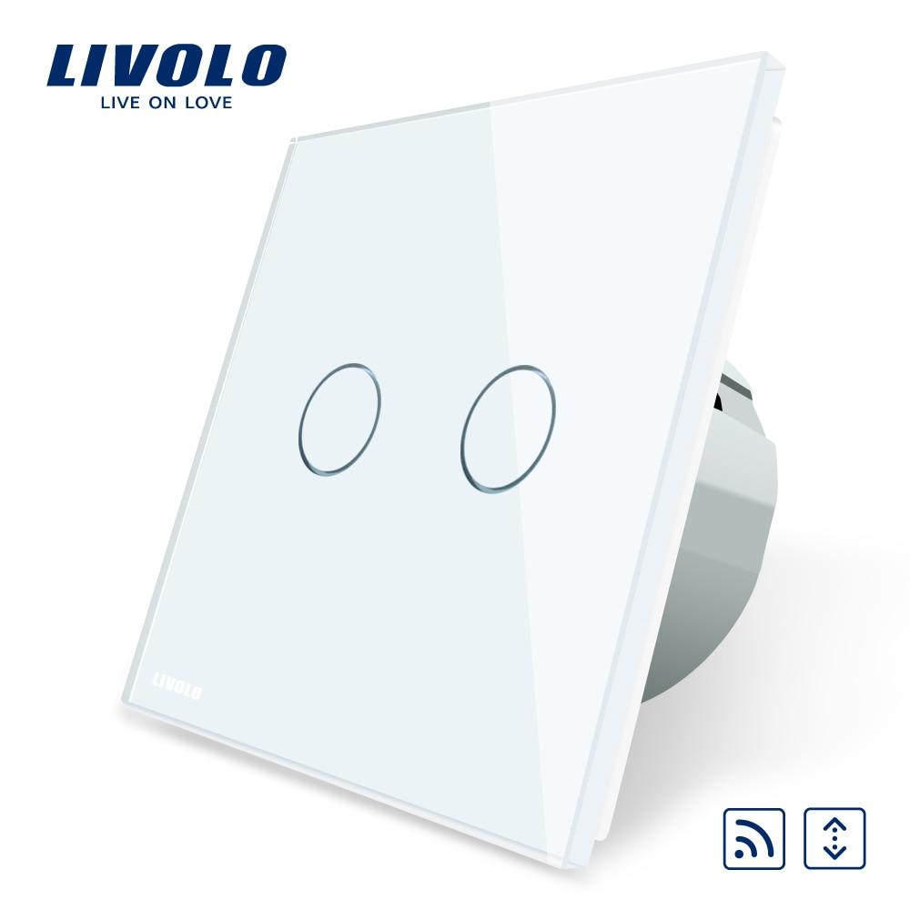 Livolo UE táctil estándar remoto LED cortinas interruptor, AC 220 ~ 250 V, panel de cristal blanco, c702WR-1/2/3/5, no controlador remoto