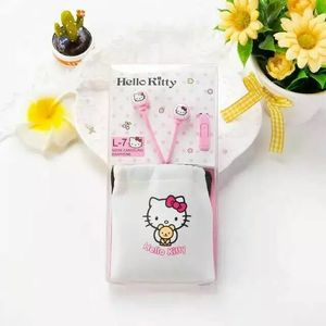 Image 5 - Auriculares intrauditivos estéreo con dibujos de Hello Kitty, color rosa, bonitos, de 3,5mm, con micrófono, para teléfono con bolsa de almacenamiento