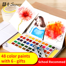 цена на Superior Solid Watercolor Painting Set With Brush Watercolor Paper Portable Water Color Pigment For Students Artist Supplies