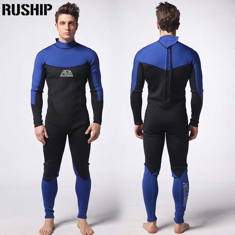 Professional men's 3mm diving suit one-piece garment neoprene double nylon fabric diving equipment snorkeling warm clothes