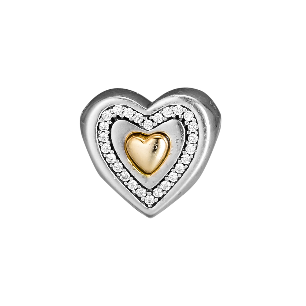 6d5a3a0b9abd05 CKK 925 Sterling Silver biżuteria serce srebrny Charms z 14 K złota  oryginalne koraliki DIY pasuje bransoletki dla tworzenia biżuterii