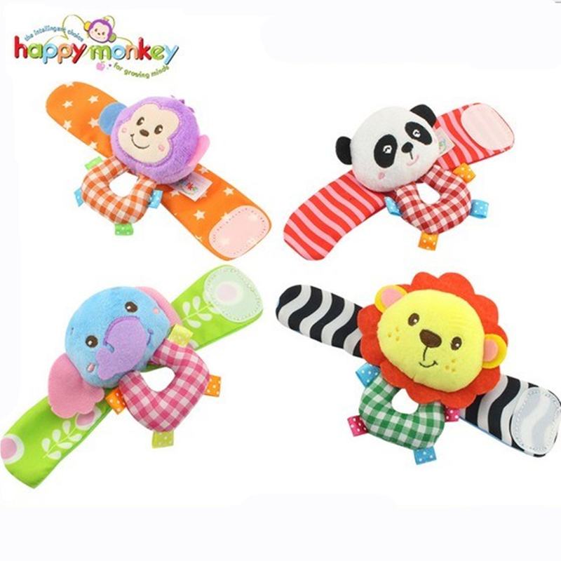Happy Monkey 2pcs/pair Wrist Band Rattle Ring Bell Colorful Infant Baby Developmental Toy Plush Newborn Soft Doll Cute