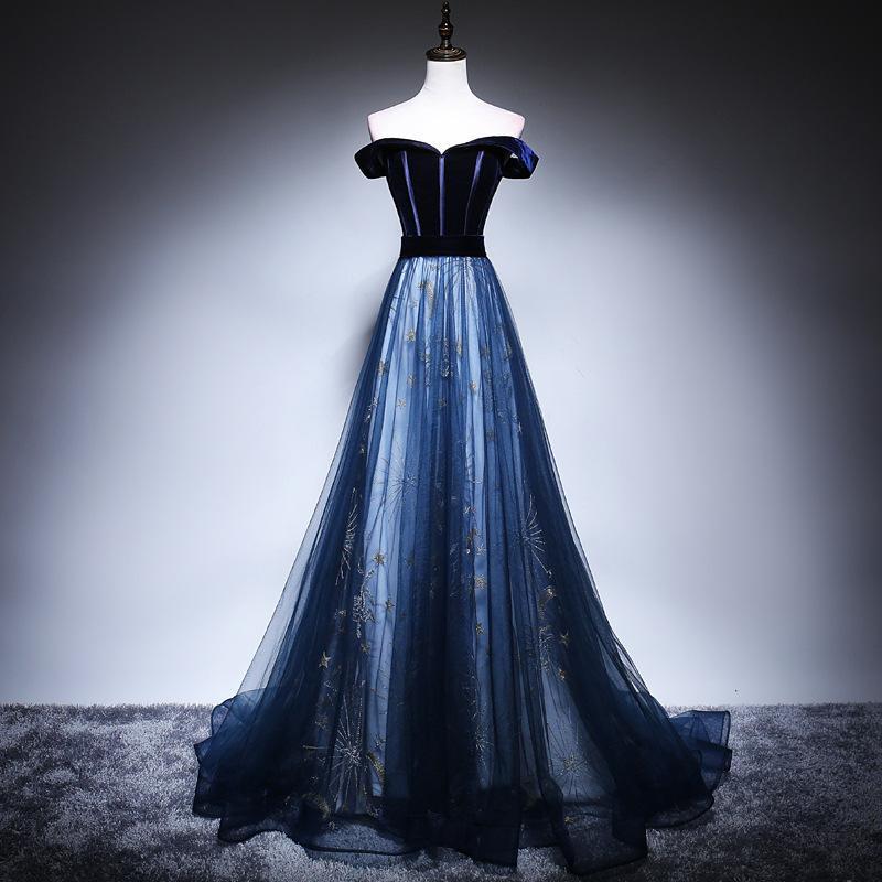Mrs Win 2019 New Elegant Long Evening Dress Boat Neck Blue Velvet With Tulle Stitching Starry