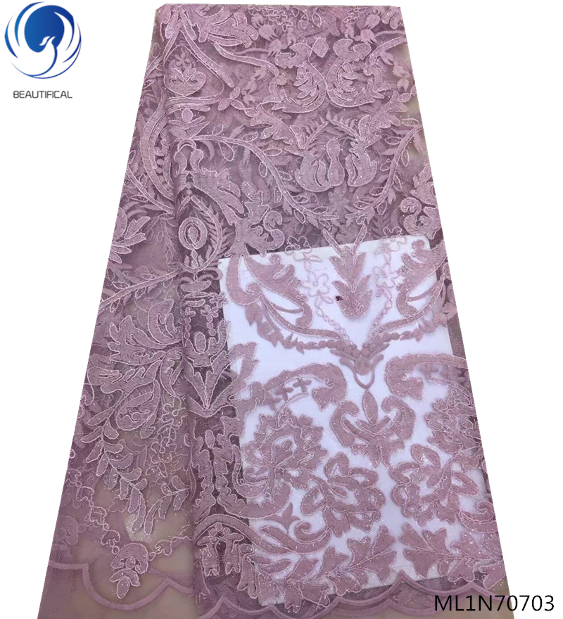 BEAUTIFICAL nigerian laces fabrics latest lace fabric velvet laces african fabric lace 5yards lot for elegant dresses ML1N707 in Lace from Home Garden