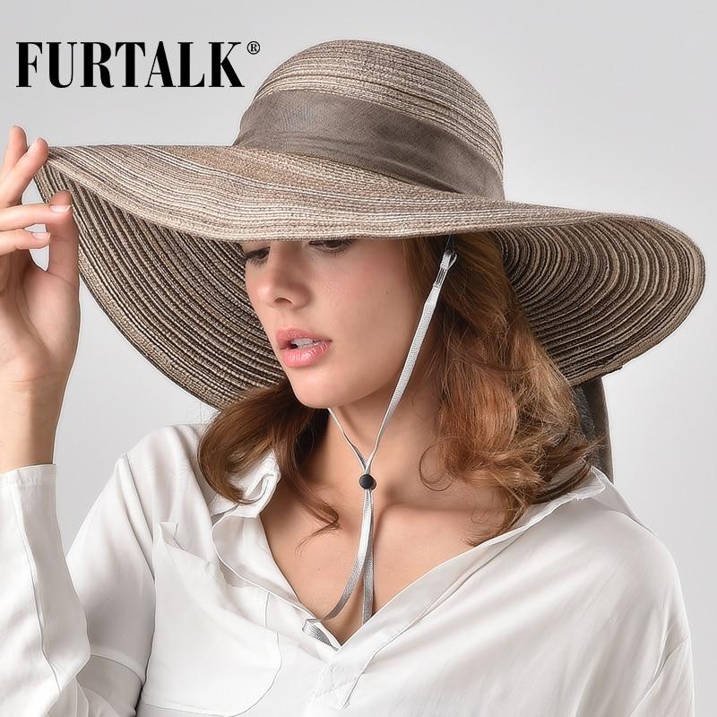 FURTALK Summer Sun Hat For Women Straw Hat Beach Hats For Female 2019 Summer Women Wide Brim UV Protection Travel Cap