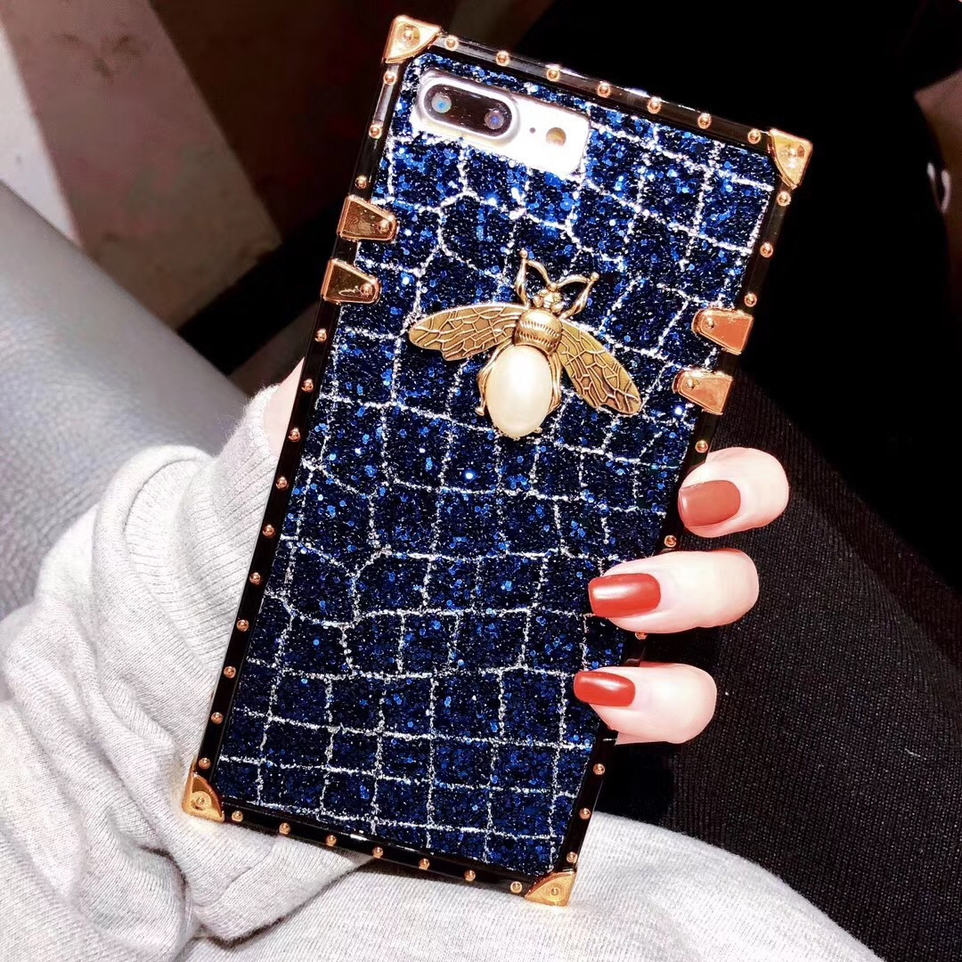 SZYHOME Phone Cases for Iphone X 7 8 Plus Vintage Luxury Metal Ring Fashion Square Lattice Bear for IPhone 6 Holder Back Cover