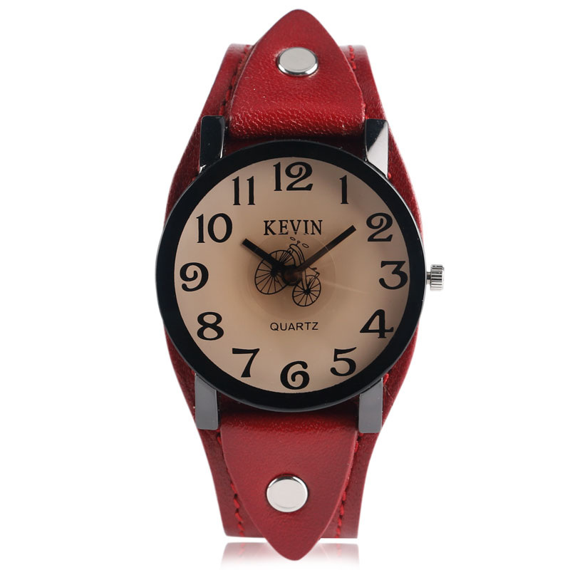 KEVIN Red Leather Band Strap Women Wrist Watch Bicycle Punk Classic Quartz Men Sport Dress Business Cool Trendy Casual Simple kevin black stainless steel band strap roman numerals quartz women business wrist watch trendy ladies elegant new arrival