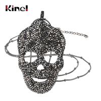 Kinel Hot Punk Skull Pendant Necklace For Men Women Stainless Steel Fashion Black Crystal Big Skeleton