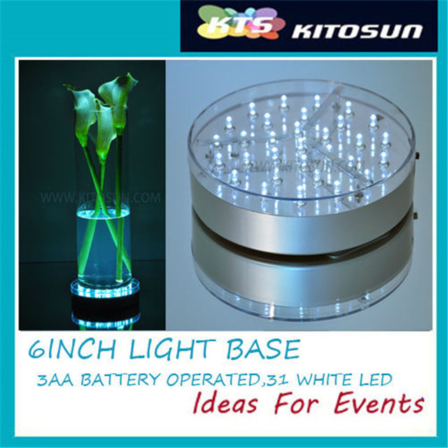 ( 20Pieces/ lot ) Wedding Centerpiece Tall Vases  Decoration 3AA Battery Operated LED Vase Light Base with 31pcs 5MM White LED