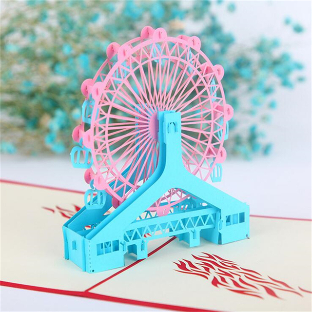 5Set Casamento 3D Birthday Gift Cards Sky Wheel Handmade Decoupage Creative Kirigami Origami Greeting