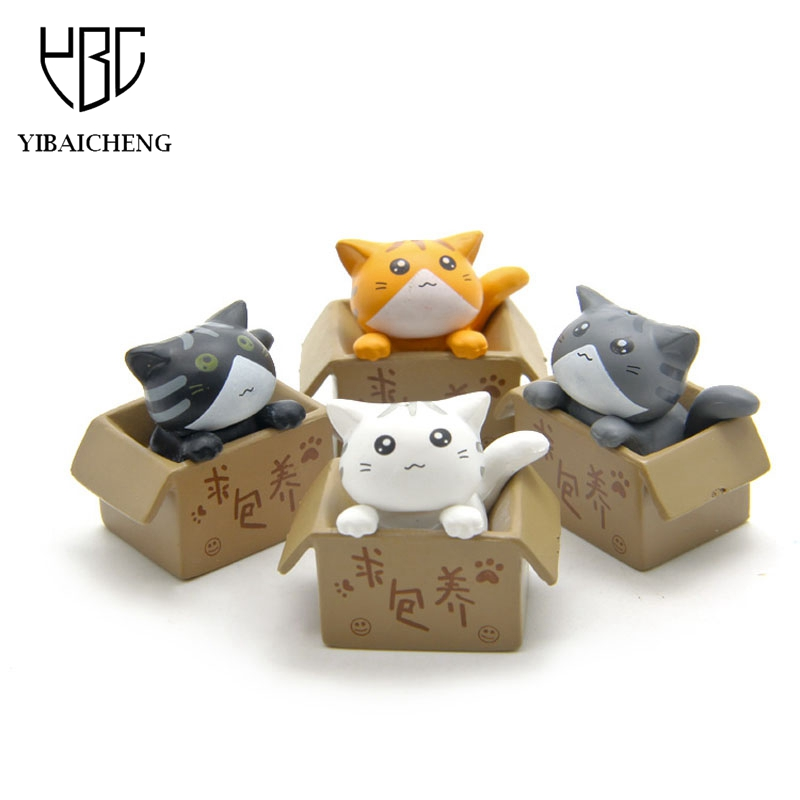 Cute Seek nurturing Cheese Cat Cartoon Anime Action Figure Resin Toys DIY Model For Children Kids Christmas Toys Girls Gifts lps pet shop toys rare black little cat blue eyes animal models patrulla canina action figures kids toys gift cat free shipping