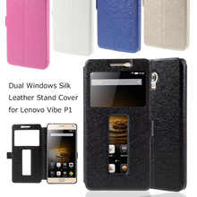 Funda Capa Shell for Lenovo Vibe P 1 Cases Coque Phone Bag Dual Windows Silk Leather