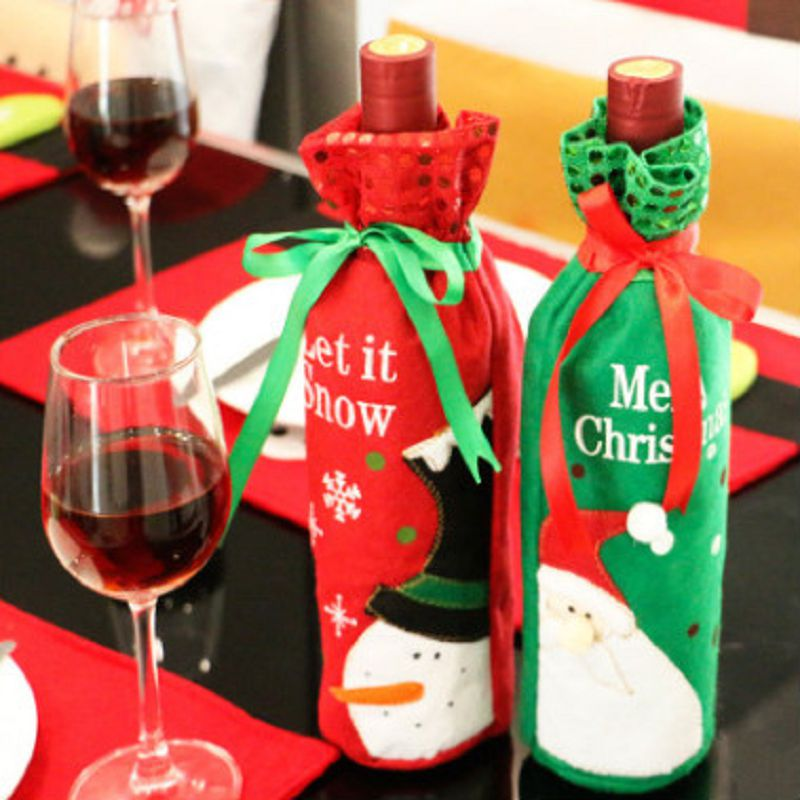 Us 1 43 22 Off Bottle Sets Christmas Gifts Red Wine Christmas Bags Decoration De Noel Pour La Maison Bag Babbo Natale Snowman Cadeau Noel In