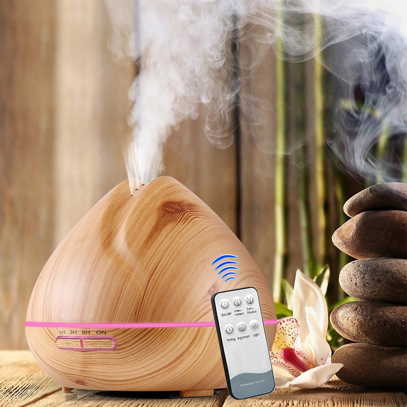 500ML Remote Control Air Humidifier Aroma Diffuser Wood Grain Aroma Essential Oil Diffuser Aromatherapy LED Lights For Home brand new portable led lights wood grain expansion machine negative ion oil diffuser humidifier aromatherapy machine for home