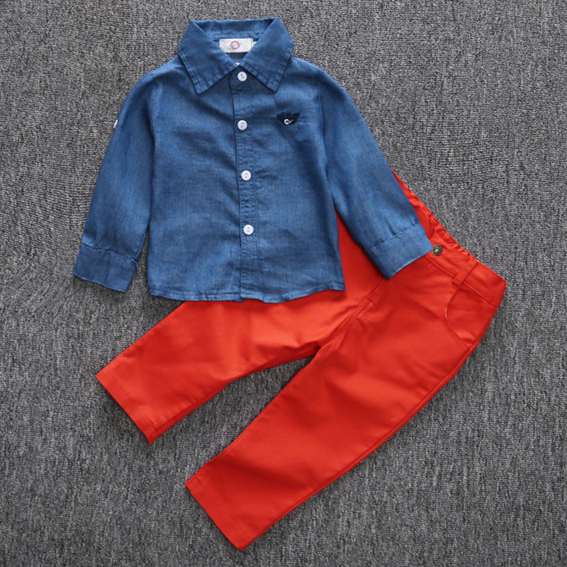 The Children'S Clothing Department Store  Autumn Style Fashion Style Little Boy Clothes Cowboy Long Sleeve Blouse+Pants 2pc 1-5Y средство от моли yue le department store