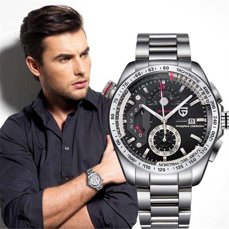 все цены на PAGANI DESIGN top luxury brand Military watch calendar chronograph waterproof stainless steel men quartz watch Relogio Masculino