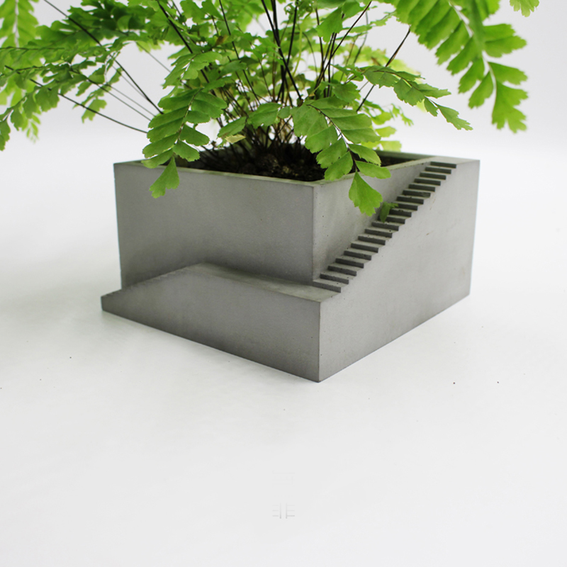 Concrete Flower Pot Silicone Mold Stair Design Cement Mold Simple Home Office Furnishings Succulent Plant Pot Mold