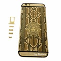 "24K 24KT 24CT GOLD Diamond Crystal Back Cover Housing Middle Frame Bezel Replacement for iPhone 6 Plus 5.5"" with Crystals LOGO"
