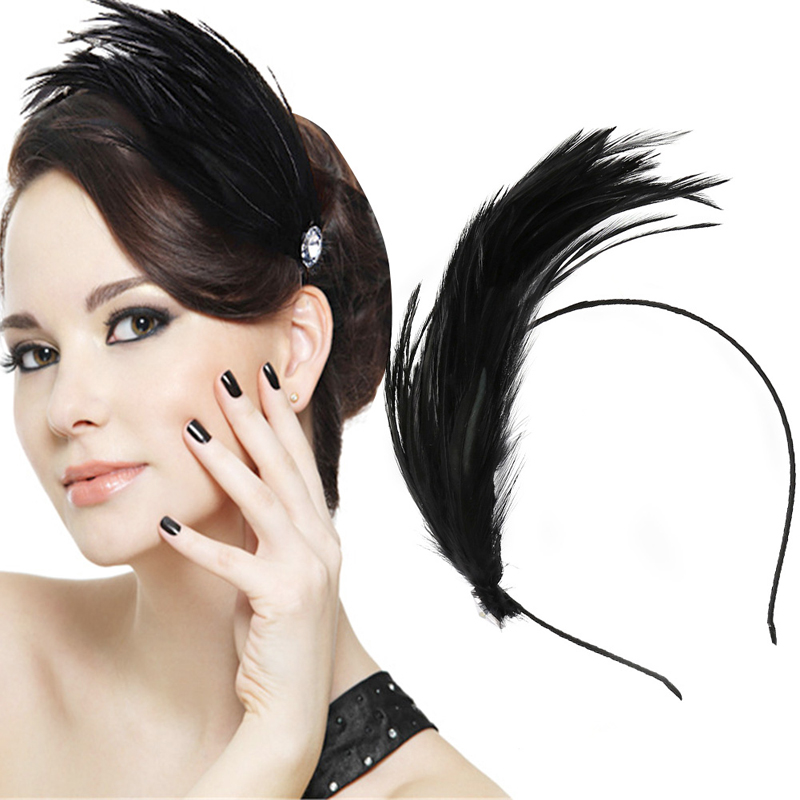 Lady Feather Hair Accessory Metal Headband Hair Band Fascinator Masquerade Swan