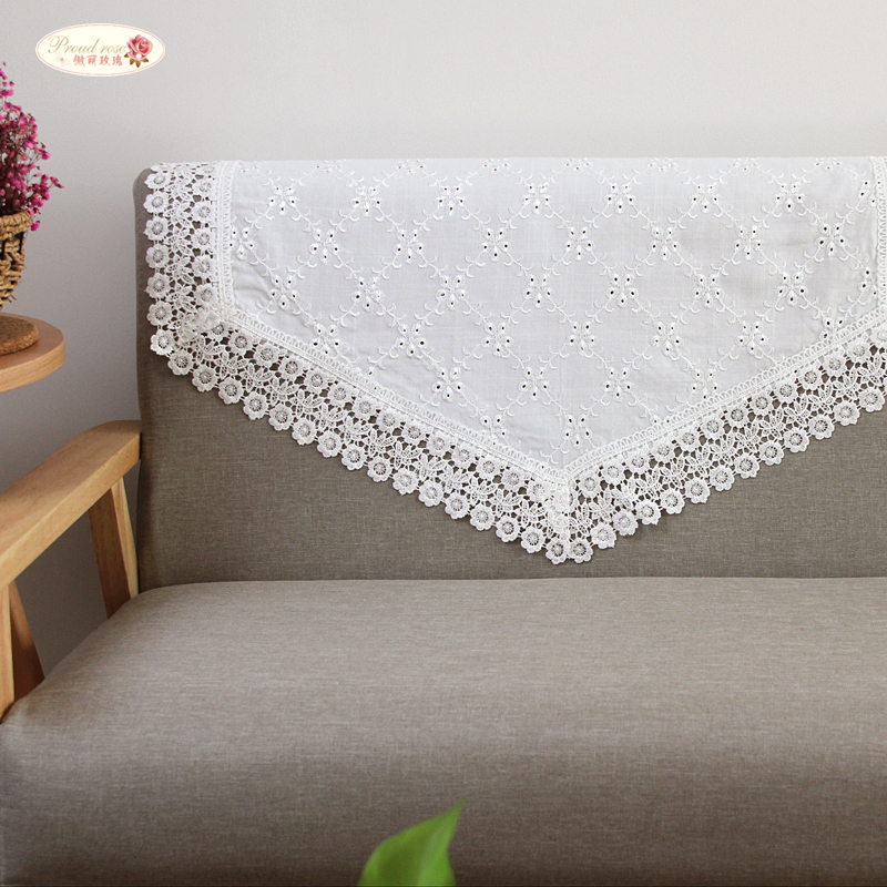 Rose Embroidered Towels: Proud Rose White Embroidered Sofa Towel Sofa Cover Anti