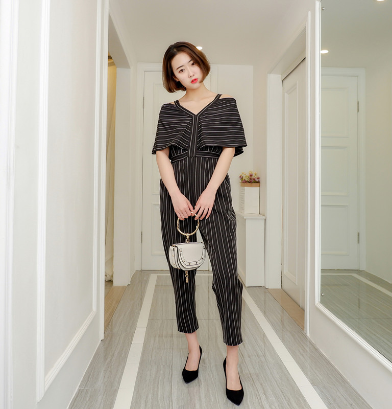 Women Jumpsuit Striped Off The Shoulder Ruffles Sling Rompers Womens Jumpsuit Loose High Waist Summer Woman Overalls 2018 New 5