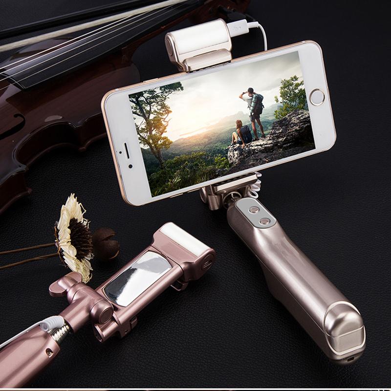 Prix pour Ajoute bluetooth selfie bâton avec 360 degrés led éclairage d'appoint et arrière miroir, extensible Manfrotto pour iPhones, Android Téléphones Intelligents
