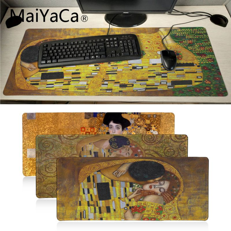 Maiyaca New Arrivals The Kiss Gustav Klimt Anti-Slip Rubber Computer Mat Wholesale Gamer Speed Pads XXL Extended Mouse Pad