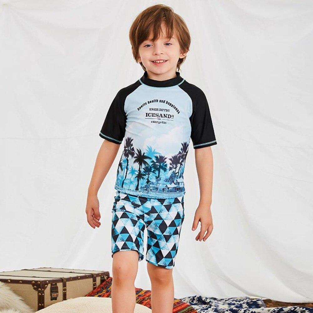 2018 Children Swimwear boy's Bathing Suits Cartoon Surfing Swimming Wear Kids Long Sleeve Beachwear Anti UV Swim Wear