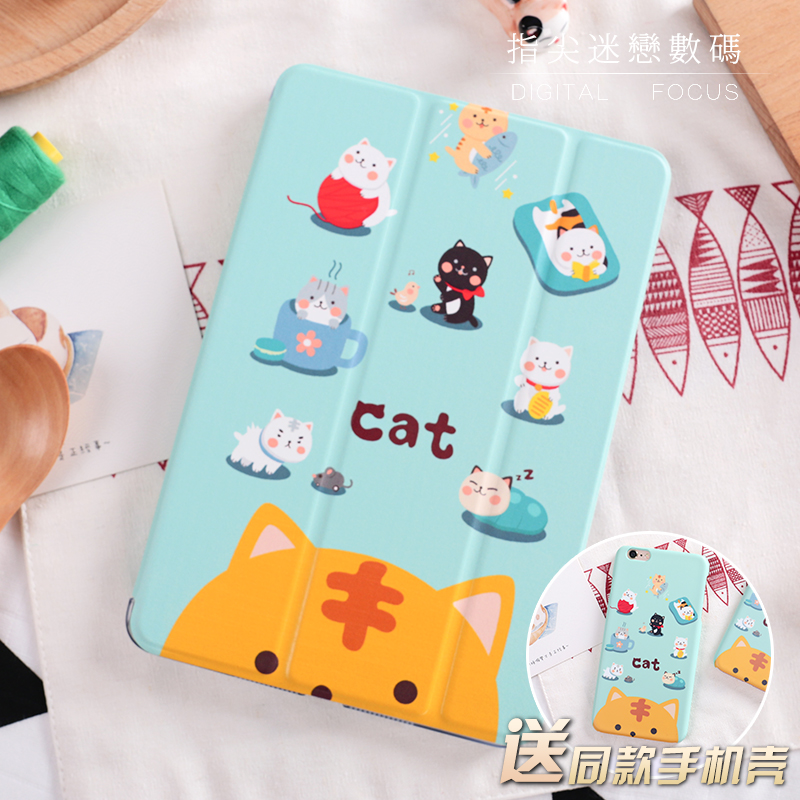 For New iPad 9.7 2017 Cartoon Cute Cat Flip Cover For iPad Pro 9.7 Air Air2 Mini 1 2 3 4 Tablet Case Protective Shell Bag cartoon cute cat flip cover for ipad pro 9 7 air air2 mini 1 2 3 4 tablet case protective shell for new ipad 9 7 2017