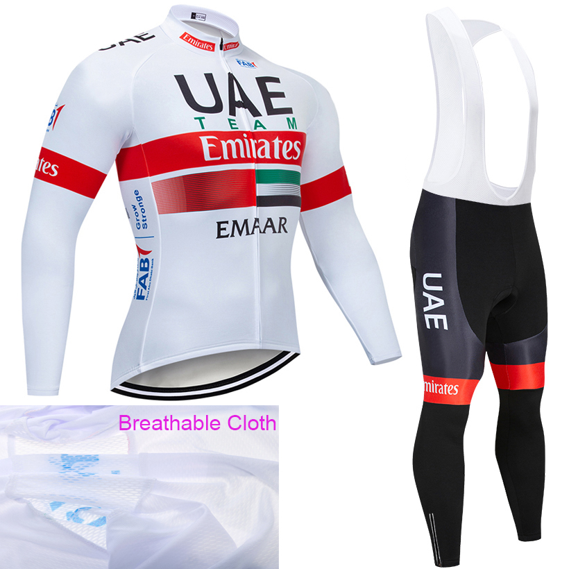 2019 TEAM UAE Long Sleeve Cycling JERSEY Bike Pants set mens 20D pads Ropa Ciclismo Brathable Cycling wear Maillot Culotte2019 TEAM UAE Long Sleeve Cycling JERSEY Bike Pants set mens 20D pads Ropa Ciclismo Brathable Cycling wear Maillot Culotte