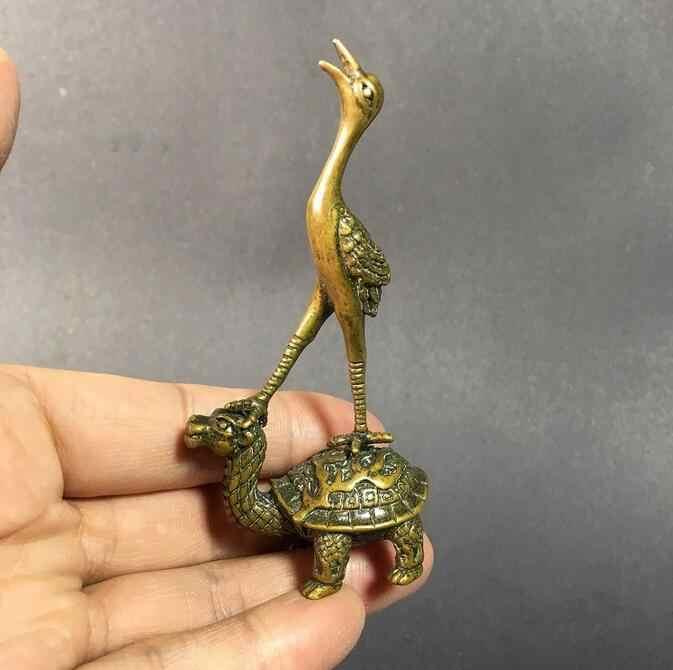 النحاس تمثال تحصيل الصينية النحاس منحوتة الحيوان رافعة السلاحف البخور إدراج رائعة تمثال صغير