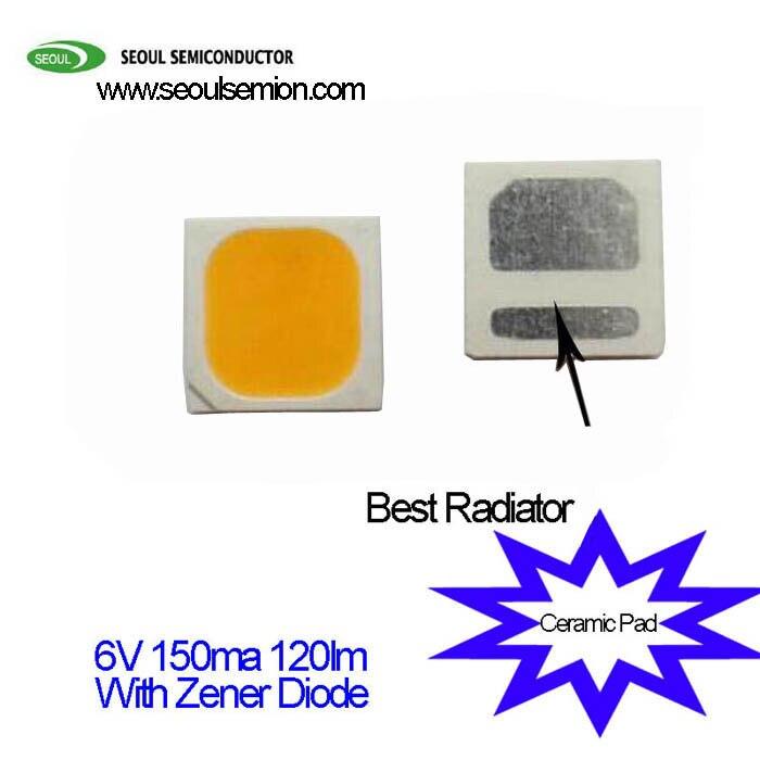 Original Seoul 1W 3030 SMD LED Diode 6V 150ma 3000K 120lm/w  Ceramic Pad  Best  Radiator With Zener Diode More Protection 1 w zener diode 1 n4732 4 glass v7 4 7 v