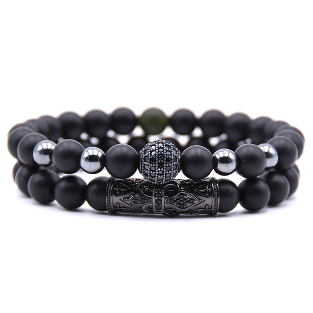 2pcs/set 2018 New Fashion Lion Crown Couple Charm With Lava Bead Bracelet Sets For Men Wristband Jewelry Accessories 1